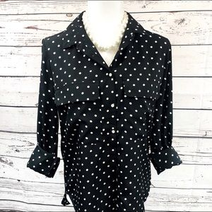 Kut From The Kloth Button Up Polka Dot Blouse